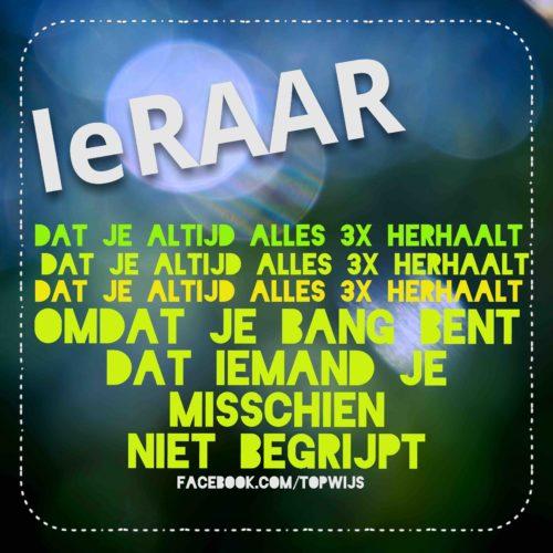 #leRAAR: Dat je altijd alles 3 keer herhaalt