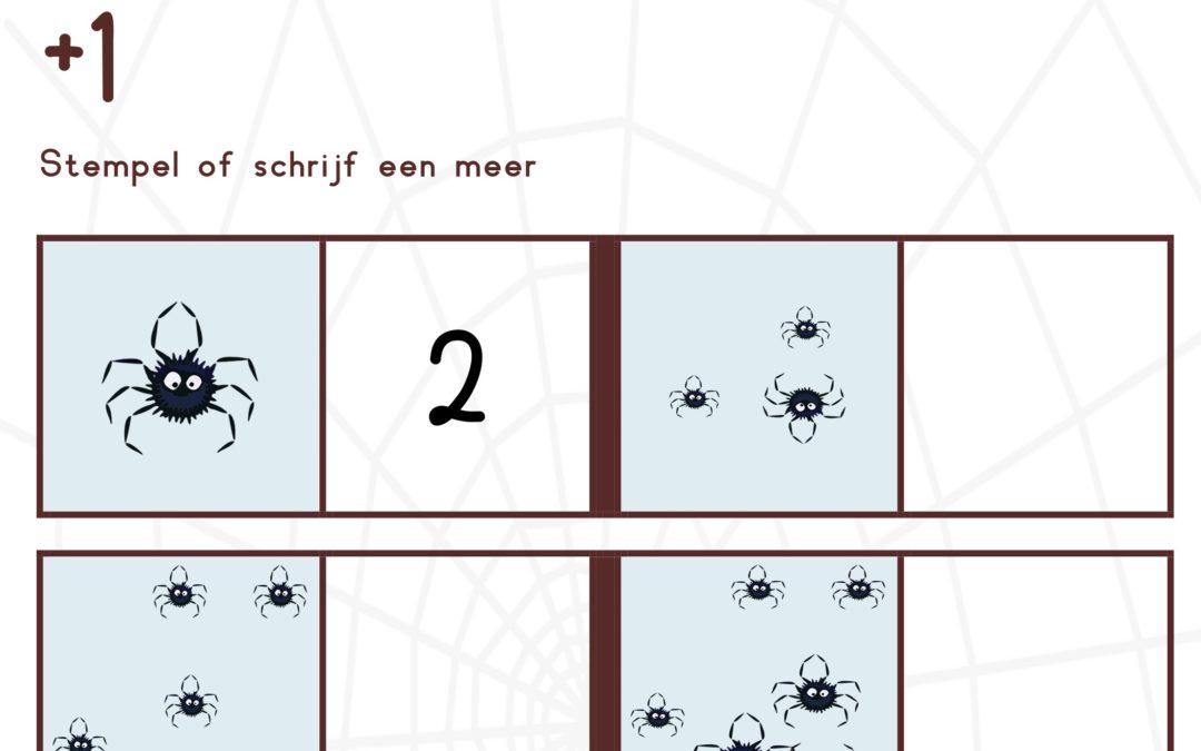 werkbladen rekenen spinnen kleuters groep 3