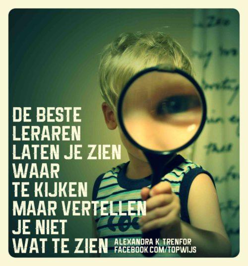 Onderwijsspreuk Alexandra K Trenfor: De beste leraren laten je zien waar te kijken, maar vertellen je niet wat te zien