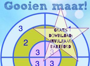 Dartbord sommen: Download het dartbord. Je kunt de punten zelf aanpassen (de getallen zijn invulvelden).