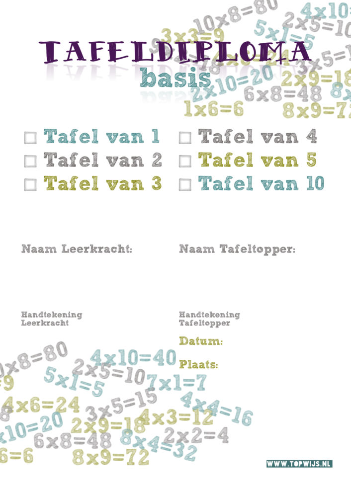 Tafeldiploma downloaden, tafeltjesdiploma downloaden