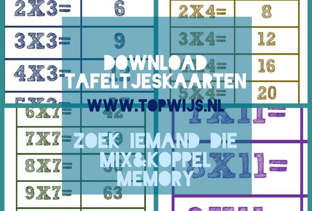 Tafeltjeskaarten SCL: Zoek iemand die, memory, mix en koppel
