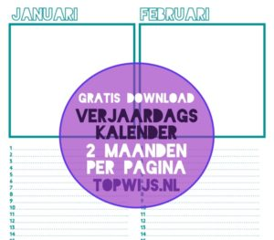 verjaardagskalender 2 maanden per pagina gratis download