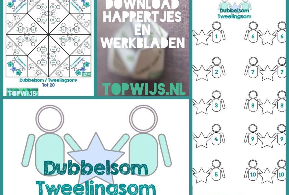 Download happertjes en werkbladen dubbelsommen Tweelingsommen